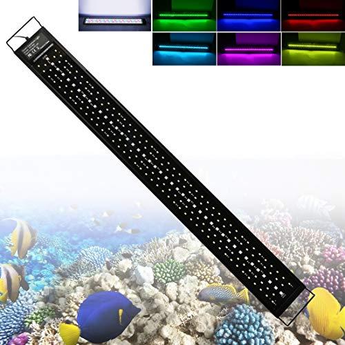 LED Aquarium Beleuchtung 48W Fish Tank Aufsetzleuchte Mit Timer und Erweiterbarer Halterung Aquarium Lampe für 90-120cm, Wasserdicht IP68 Vollspektrum LED Automatisiertes LED-Licht für Fisch Koralle