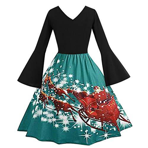 ZHANSANFM Weihnachten Kleid Damen Weihnachtskleider Vintage 1950er Cocktailkleid Rockabilly Swing...
