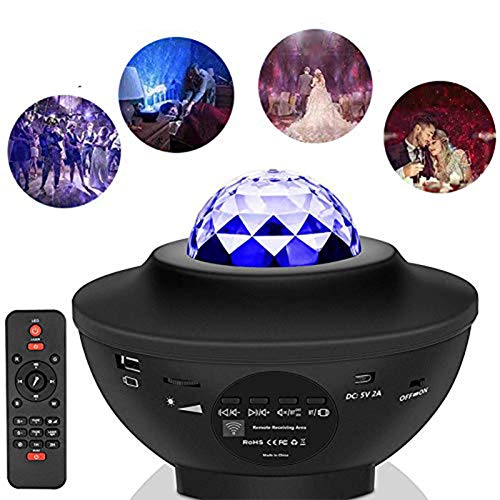 LOPP Galaxy Wall Projector, 360 ° Music Starry Water Wave Proyector LED,...