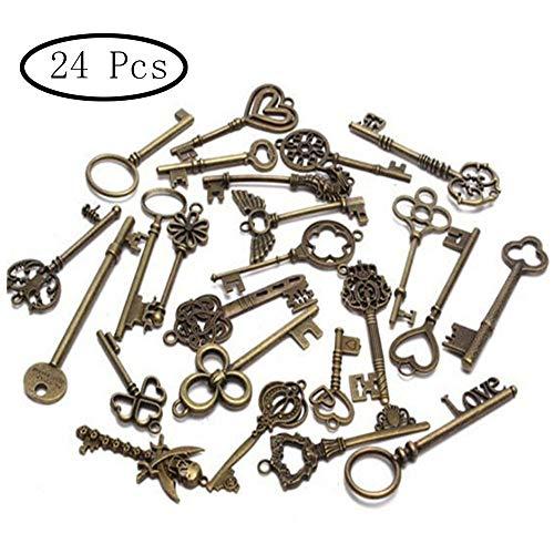 inherited 24 piezas Dijes esqueleto llave rústica, de bronce antiguo esqueleto clave vintage DIY collar colgante para hacer la joyería hecha a mano banquete de boda favor y fiesta de cumpleaños