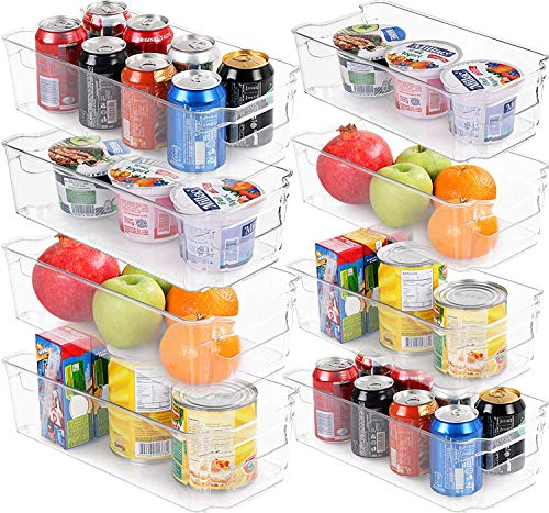 KICHLY (Set of 8) Refrigerator Pantry Organizer - include 8 organizer 4 large & 4 small drawers Stackable Fridge Organizers for Freezer, Kitchen, Countertops, Cabinets