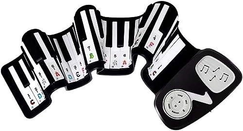 HXGL-Tastatur Hand Rolle Soft Piano 49 Key Kinder Tastatur Spielzeug Anf er Studenten Folding Tragbare Dicke Tastatur (Farbe   Schwarz