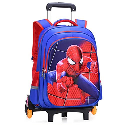 Xyh723 Niños Trolley Bolsa Escolar Rueda Spiderman Mochila Superhéroe Personaje Tirar De La Varilla Satchel Niño Picnic Al Aire Libre Cumpleaños Regalo,Blue-6 Wheels