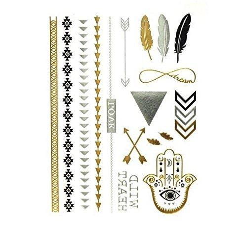 Miya 1Stück Wild Style Metallic tatuaggio, Flash Tattoos, Tattoo, Oro Nero Argento colori temporanea Gioielli Tattoo per corpo dita braccia, collana bracciale Flash tatuaggi Body Tattoo, TT _ YS _ 04