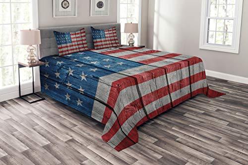 ABAKUHAUS Vereinigte Staaten von Amerika Tagesdecke Set, Getragen Stil amerikanische Flagge, Set mit Kissenbezügen Maschienenwaschbar, für Doppelbetten 220 x 220 cm, Hellgrau Blau Rot