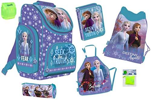 Disney Eiskönigin 2 Frozen 2 Schulranzen Set 6-TLG. mit Schüleretui, Federmappe, Sportbeutel, Schürze, Regenschutz für Mädchen