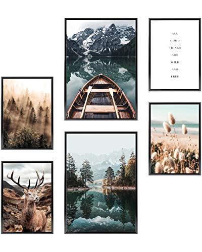Heimlich® Premium Poster Set OHNE Bilderrahmen | Stilvolles Set mit passenden Bilder als Wohnzimmer Deko | 2 x DIN A3 & 4 x DIN A4 - ca. 30x42 & 21x30 | » Pragser See Boot Pampas «