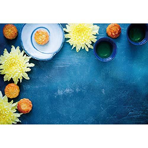 YongFoto 3x2m Chino Tradicional Festival de la reunión Mediados de otoño Vinilo Fotografía Fondo Pastel de Luna Postre Té de crisantemo Azul Marino Fondo Festival Chino Foto Accesorios