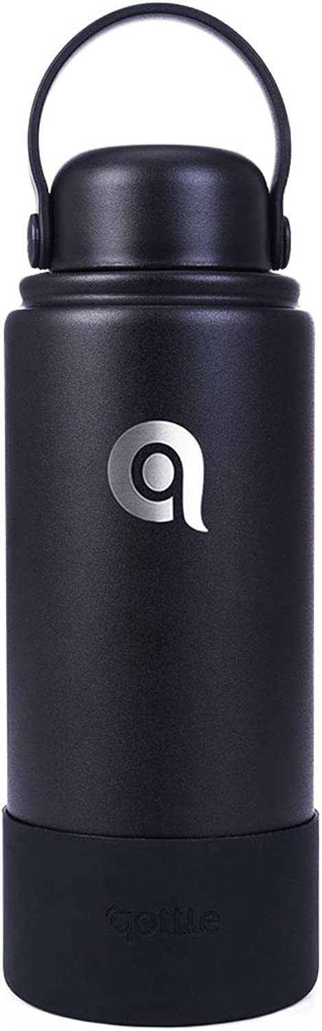 Qottle Stainless Steel Water Bottle  Double Wall Vacuum Metal Insulated Black Water Bottle Standard Mouth with Bpa Free Flex Cap, Large Travel Bottle for Hot Coffee Or Cold Tea with Sleeve Boot