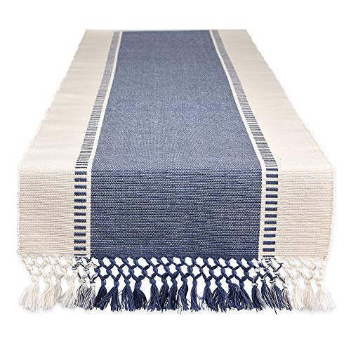 DII CAMZ11410 Woven Dobby Stripe Table Runner, 13x108, French Blue