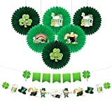 Qpout St.Patrick's Day Party Dekoration Set, Lucky Klee Hanging Banner und 6pcs Honeycomb Ball Hanging Deckendekoration für irische St.Patrick's Day Party