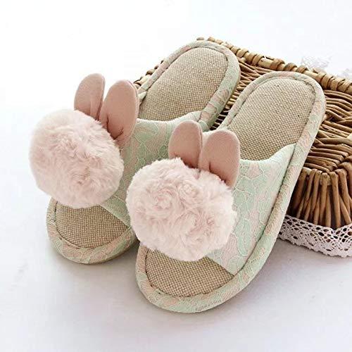 CNZXCO Bunny - Zapatillas de estar por casa de piel de conejo real, para interiores, antideslizantes, para el hogar, para niños, damas, con cubierta de felpa con forro de disquete