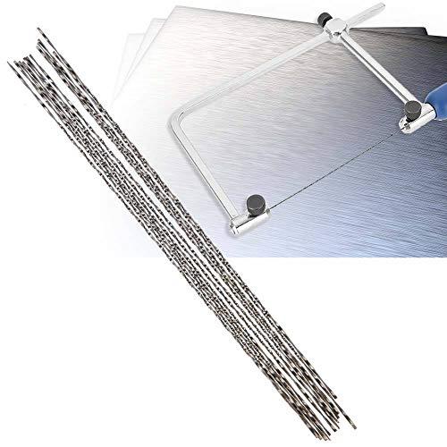 12 hojas de sierra de calar de acero al carbono, con dientes en espiral para cortar madera de corte de metal, plástico (2#)