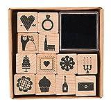 Rico - Juego de sellos para boda, 12 unidades, 20 x 20 mm