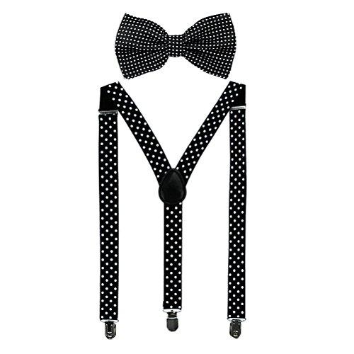 HABI mehrfarbig elastisch gepunktet Hosenträger Y-Form Länge für Damen und Herren mit den starken Clips Playshoes und Fliege in verschiedenem Design (6)