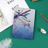 iPad Pro 11 ケース 2018 マグネットス吸着式 オートスリープ機能 スリム 軽量 シルク手触り 高級感 iPad Pro 11インチ専用 スマートカバー抽象的なグランジブルーオンブルプリントとカラフルな紫蛾水彩デザイン