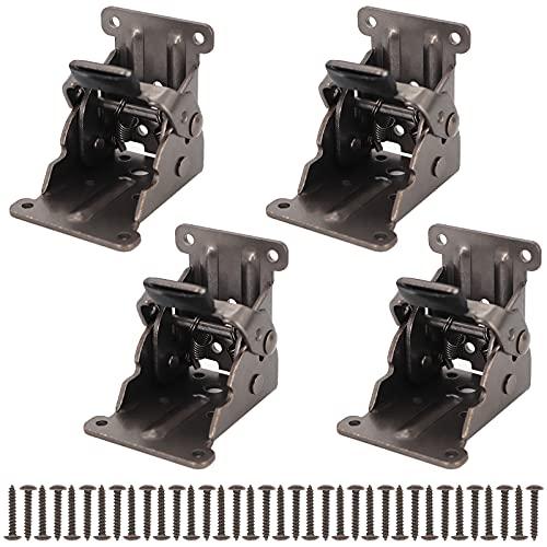 4 Pack Folding Hinges,90 Degree Folding Fittings Foldable Support Bracket with Screws self Locking Hinge for Folding Table,Folding Table Legs,Folding Furniture etc