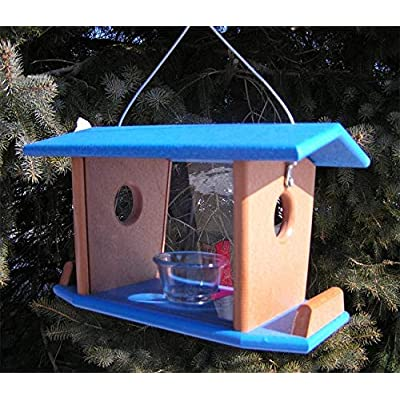 DutchCrafters Amish Made Hanging Bluebird Mealworm Feeder; Bluebird Hanging Feeder with Removable Sides (Blue & Bright Cedar)