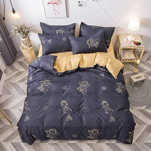 YUXO Duvet Set Bedding Sets 4pcs Cute Cartoon Flower Bedding Set Polyester Home Textile Garden Bed Sheet Quilt Cover Pillow Case Boy Girl Bedding 1024 (Color : 80120, Size : Flat Bed Sheet)