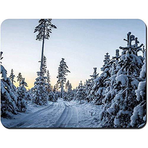 Mousepad, zonsondergang Winter bomen Drifts Road aangepaste rechthoek anti-slip Rubber Mousepad Gaming Mouse Pad,22X18Cm