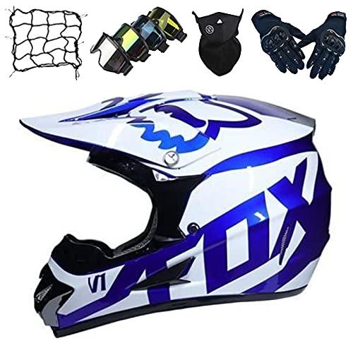 Casco MTB Cara Completa, Conjunto Casco Motocross para Niños (Guantes/Gafas/Máscara/Red Elástica), Casco Moto para Adultos y Jóvenes para Scooter de Descenso MX ATV - con Diseño Fox - Blanco Azul