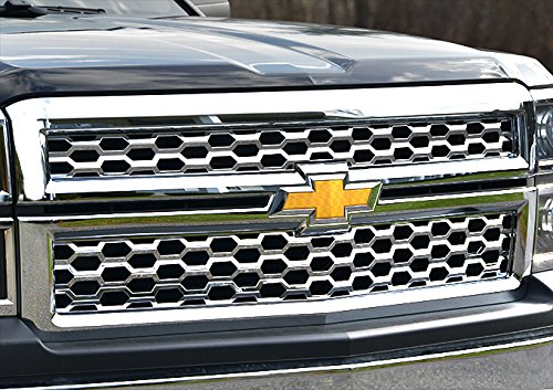 QAA fits 2014-2015 Chevrolet Silverado 1500 1WT, 2WT, LT only 2 Piece Chrome Plated ABS Plastic Grill Overlay, Insert SGC54184