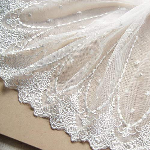 2 Yards White Retro Floral Embroidery Lace Trim Lace Fabric for DIY by The Yard 7.8 inches Width
