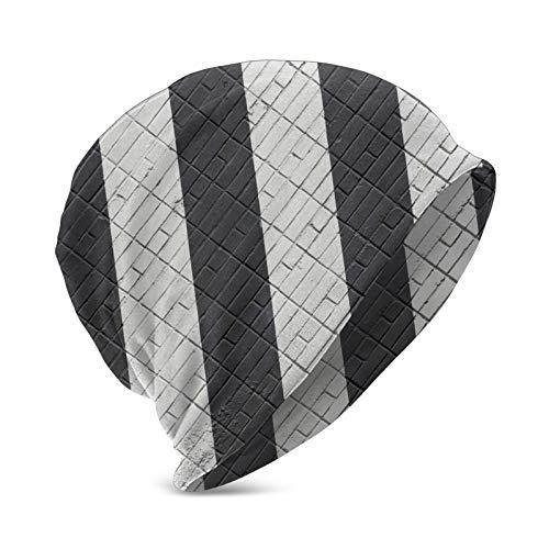 Miusixi Schwarze und weiße Ziegelsteinmauer Kindermütze, warme Wintermütze, isolierte Mütze für Jungen Mädchen Teenager
