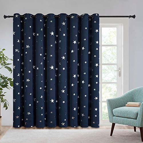 Estelar Textiler Room Divider Curtain Screen Partitions Star Curtain 96 Inch Length Grommet Curtain for Kids Bedroom, 100Wx96L, Navy Blue, 1 Panel