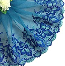 MOPOLIS 1Yd Vintage Floral Embroidery Scalloped Lace Sewing Trim Fabric Bridal Applique | Color - #18-21cm Blue Morning glory