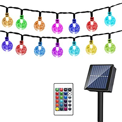 Solar 65LED Globe String Lights Outdoor,16Colors 20Mode Crystal Balls Waterproof Fairy Lights with Remote,43Ft Solar Powered Starry Light for Garden Fence Yard Home Party Wedding Christmas Decoration
