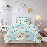 HUA JIE Colchas Cama Kawaii Rainbow Cloud Queen Bedding Set 3 Pcs Kids Cute Cartoon Light Blue Duvet Covet Sets 1 Duvet Cover + 2 Pillowcases