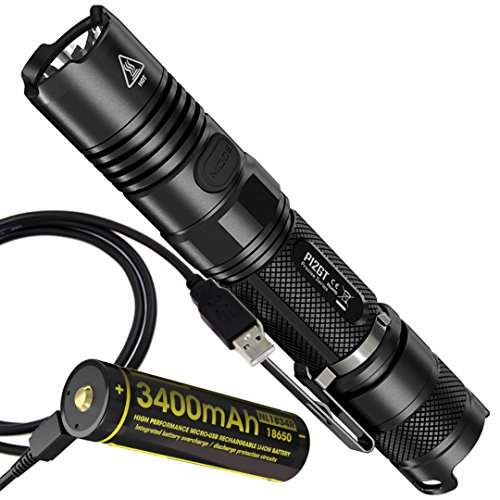 Nitecore P12GT 1000 Lumens Compact Tactical LED Flashlight, High Capacity Rechargeable 3400 mAh Battery with Built-in Charging Port