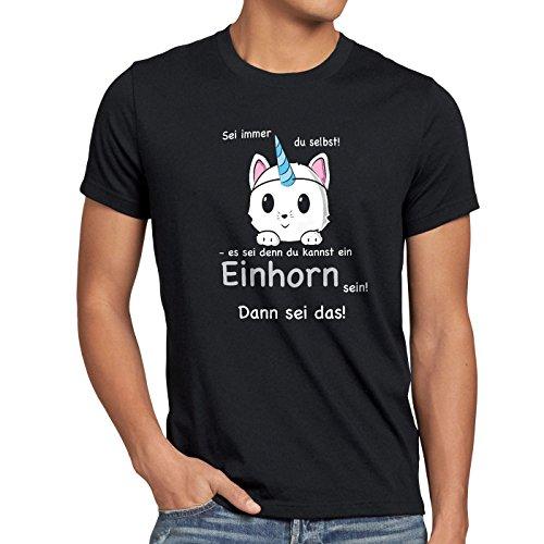 style3 Sei Immer du selbst! Einhorn Herren T-Shirt Unicorn, Farbe:Schwarz, Größe:4XL