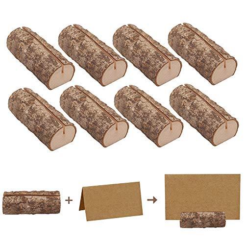 Anyasen Kartenhalter Holz 10 Stück Tischkartenhalter Fotohalter Holzkartenhaltern Tischnummer Halter Tischkarte Halter Platzkartenhalter mit 20 Stück Kraftpapierkarte für Hochzeit Geburtstag Party