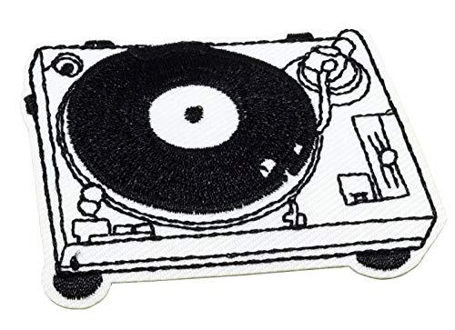 MissBirdler Retro DJ MC Vinyl plaat platenspeler 7x5cm wit met koptelefoon opstrijkbare jeans stof kleding applicatie strijkafbeelding patch DIY voor textiel 8 x 5,3 cm