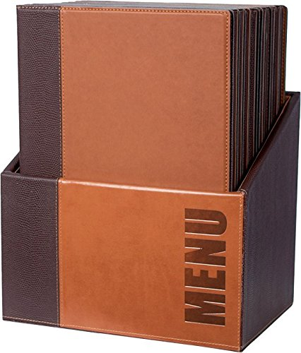 Securit Trendy Range Menükartenbox mit 20 Karten im A4-Format, je 1 doppelseitiger Einleger, Hellbraun