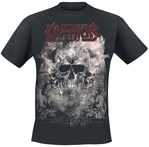 Kreator Gods of Violence-Skulls Männer T-Shirt schwarz XL 100% Baumwolle Band-Merch, Bands, Totenköpfe