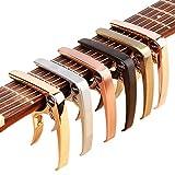ZEALUX カポタスト ギター、ウクレレ、バンジョー、マンドリン、ベース用のスーツ。 超軽量アルミメタル、4&6&12弦の楽器用 - プレミアムアクセサリー (ブラック)
