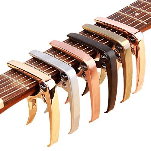ZEALUX Multifunctional Guitar Capo for Guitars, Ukulele, Banjo, Mandolin, Bass. Ultra Lightweight Aluminum Metal for 4 & 6 & 12 String Instruments - Premium Accessories (Red Bronze)