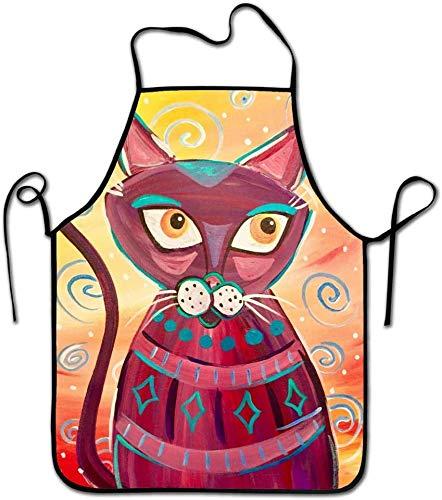 Wheatleya Delantal temático Animal Meow-Mix-1, Babero de Cocina Unisex con jardinería, tamaño Adulto