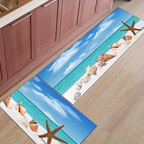 OPLJ Entrada Bienvenido Felpudo Mar Estrella de mar Concha Concha Sala de Estar Dormitorio Piso Decoración Alfombra Cocina Alfombrilla Antideslizante A1 50x160cm