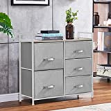 HomeSailing Grey Bedroom Chest of 5 Fabric Drawers Dresser Closet Living Room Unit Storage Sideboard Cabinet for Kids Room Clothes Toy Collection Nursery TV Stand Cabinet 32inches