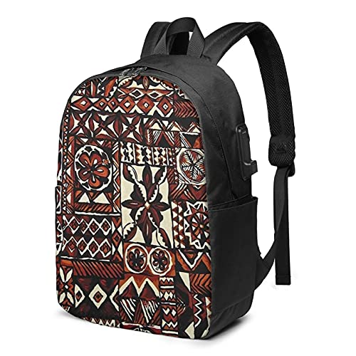 Mochila de impresión tribal, mochila de viaje para portátil con puerto de carga USB para hombres y mujeres de 17 pulgadas, ver imagen, Talla única,