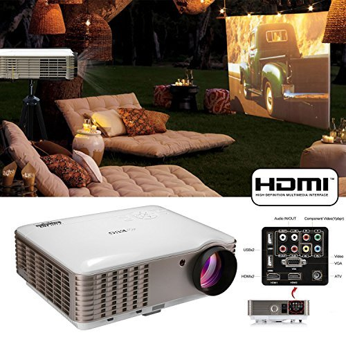EUG X88 3900lumens Video Projectors 1080p Full HD LCD LED Image System Home Theater Cinema Projector HDMI VGA AV USB Audio Out,Built-in Speakers for Outdoor Entertainment DVD PC Game Consoles
