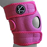 Adjustable Kids Knee Brace Support - Knee Support for Youth, Arthritis, ACL, MCL, LCL, Sports Exercise, Meniscus Tear, Dance. Open Patella Neoprene Stabilizer Wrap for Children, Boys, Girls (Pink)