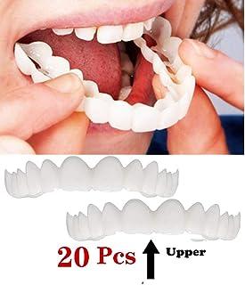 WOkismx Smile Denture Fit Flex Cosmetic Teeth Cómoda Chapa Cubierta Dientes Blanqueamiento Snap On Smile Dientes Cosmetic Denture, Cosmetic Teeth 20 Pcs