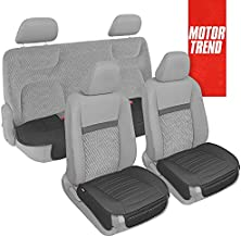 Motor Trend Black Faux Leather Seat Covers Full Set with Front & Back Seat Covers – Universal Padded Car Seat Cushions with Storage Pockets, Premium Seat Cushion for Truck Auto Van SUV