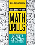 One-Sheet-A-Day Math Drills: Grade 7 Subtraction - 200 Worksheets (Book 22 of 24) (English Edition)