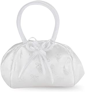 Flower Girl Gifts White Satin Embroided Deluxe Snap Purse with Padded Handles, 9 Inch